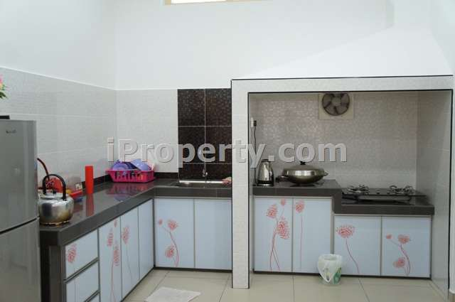 kitchen completed with cooking facilities, fridge