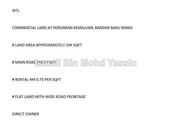 commercial land, Bangi